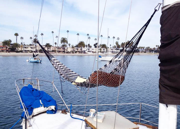 hanging a hammock on a sailboat